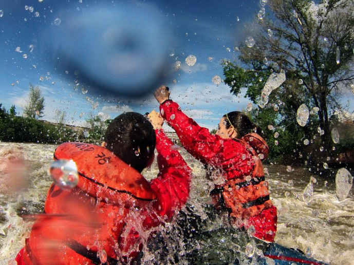I'm on the left, trying to maneuver through a rapid in the South Platte River in Denver on a rafting trip in May (Photo by Sonya Doctorian).